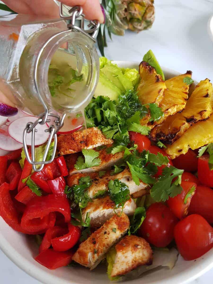 Chili cilantro lime dressing on chicken salad.