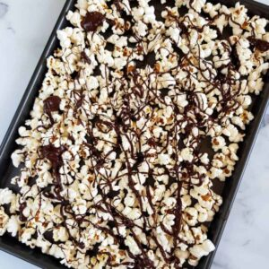 Chocolate coated popcorn.