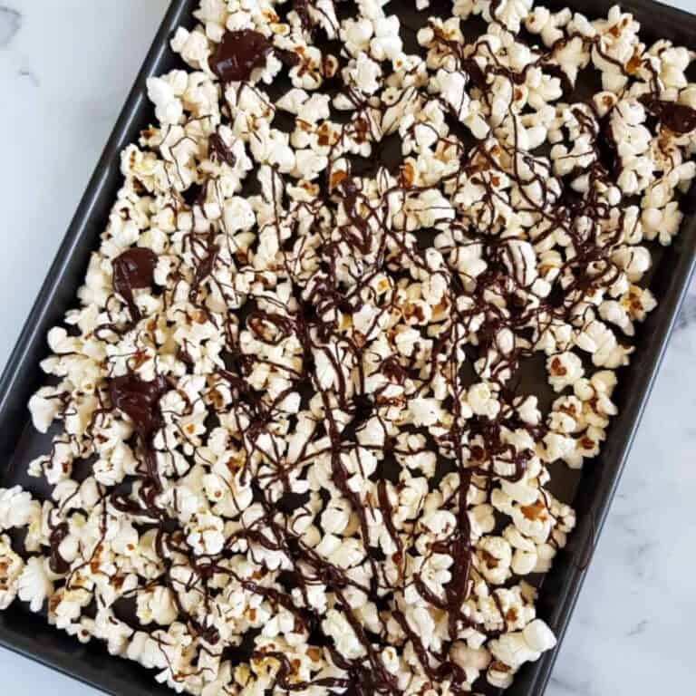 Chocolate coated popcorn.