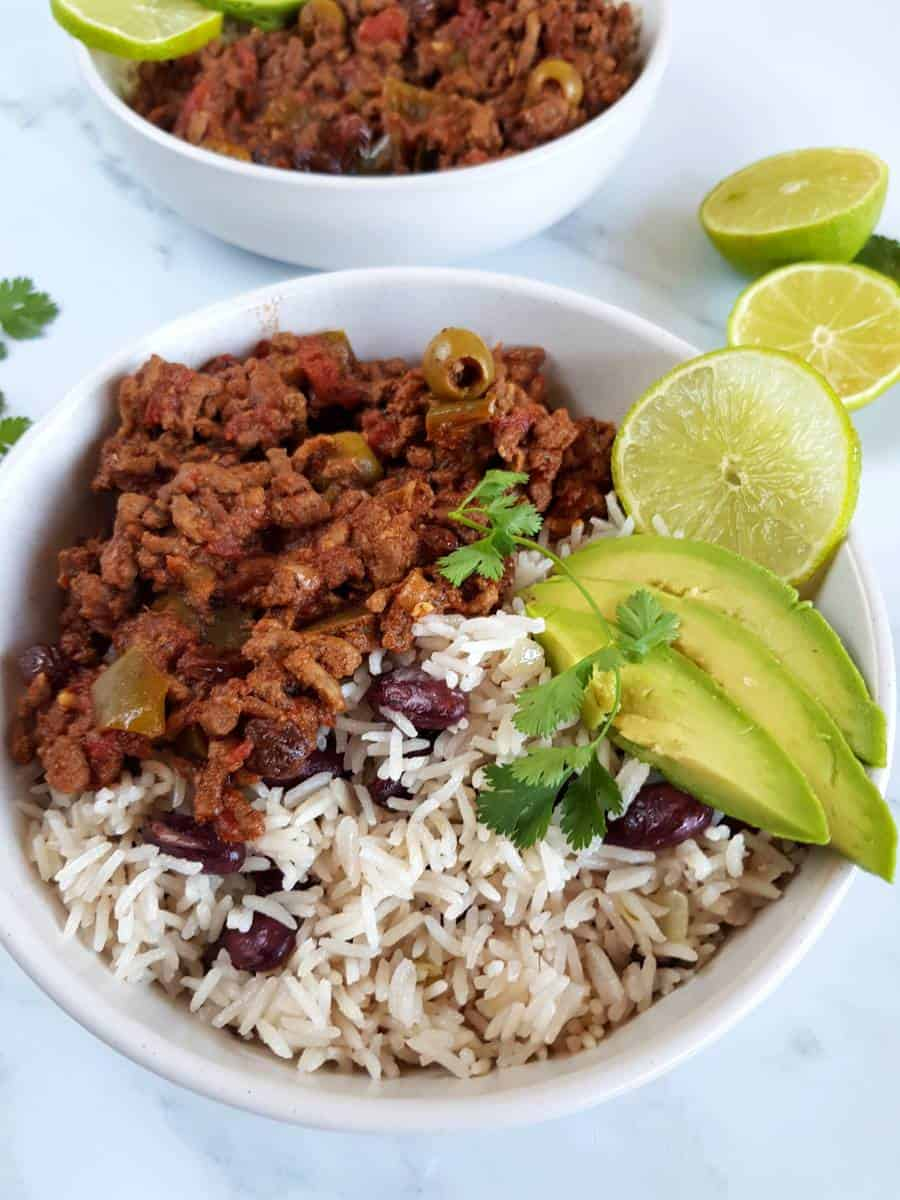 Coconut rice and red beans.