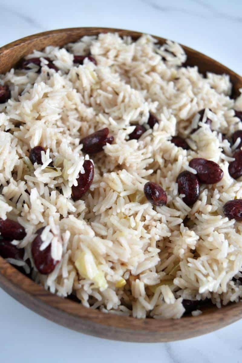 Coconut rice with red beans.