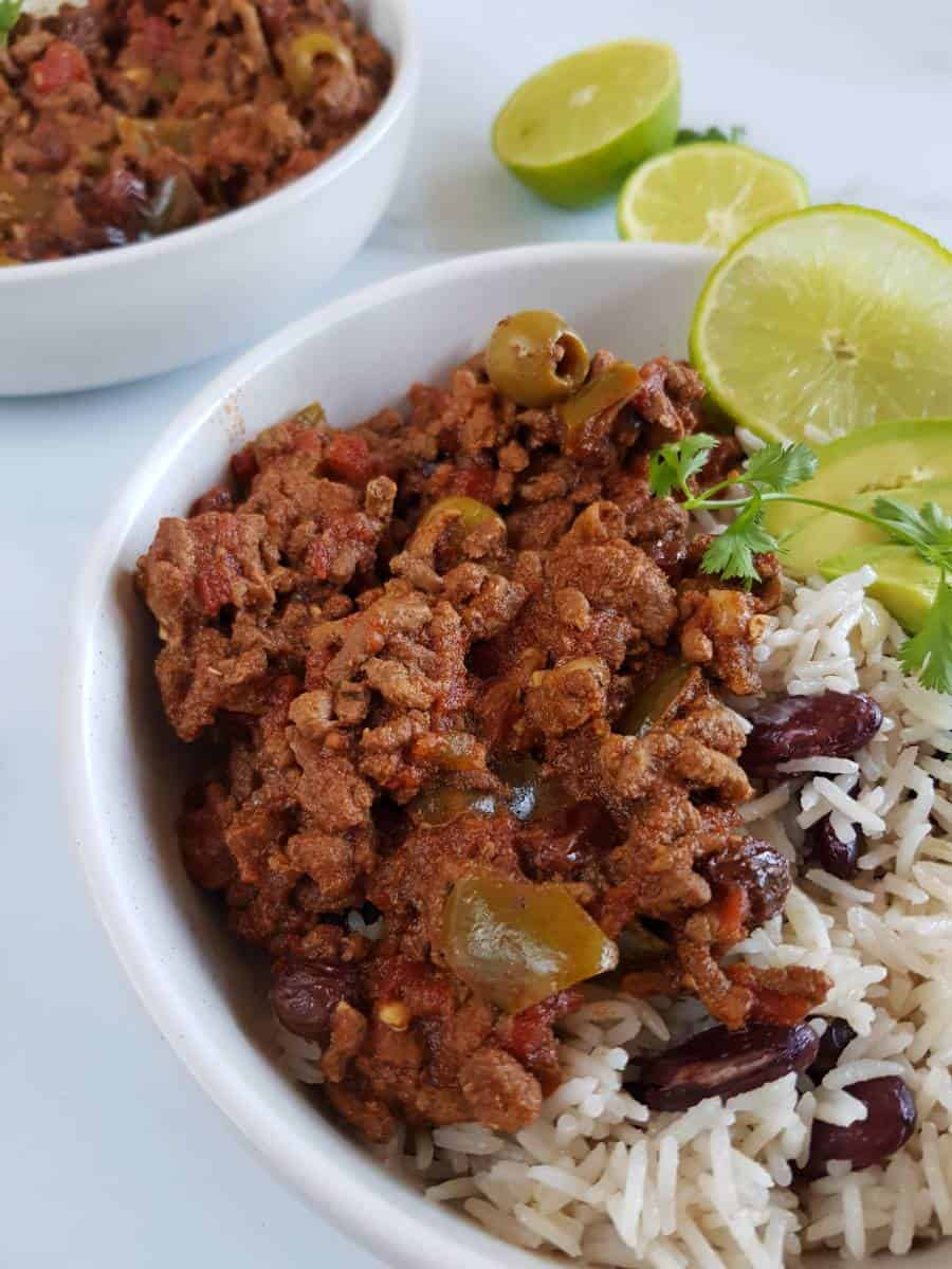 Crockpot picadillo with rice.