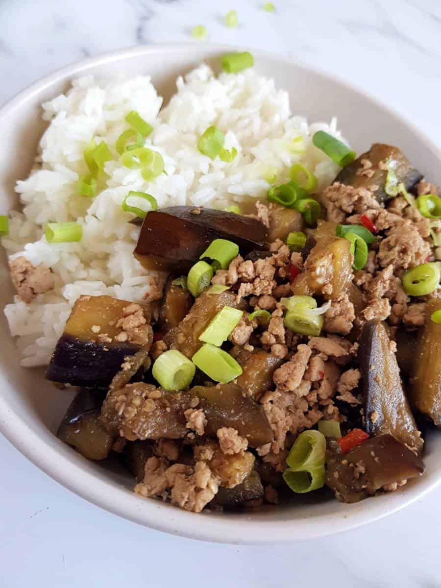 Eggplant and pork skillet.