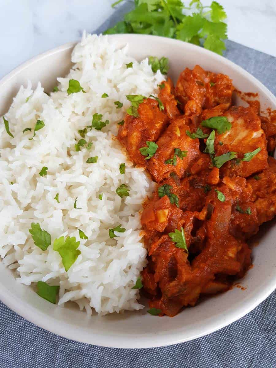 Fish curry with basa with rice.