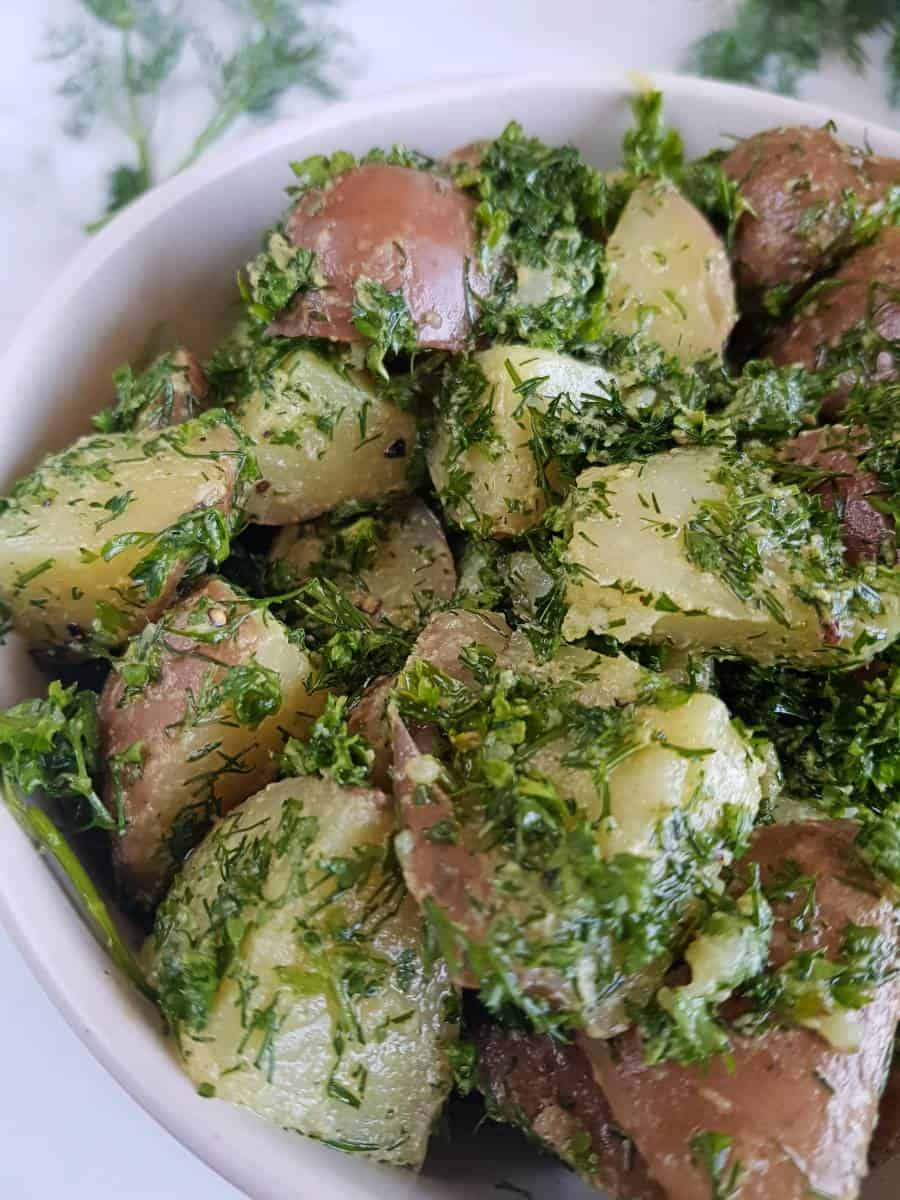 French potato salad with olive oil.