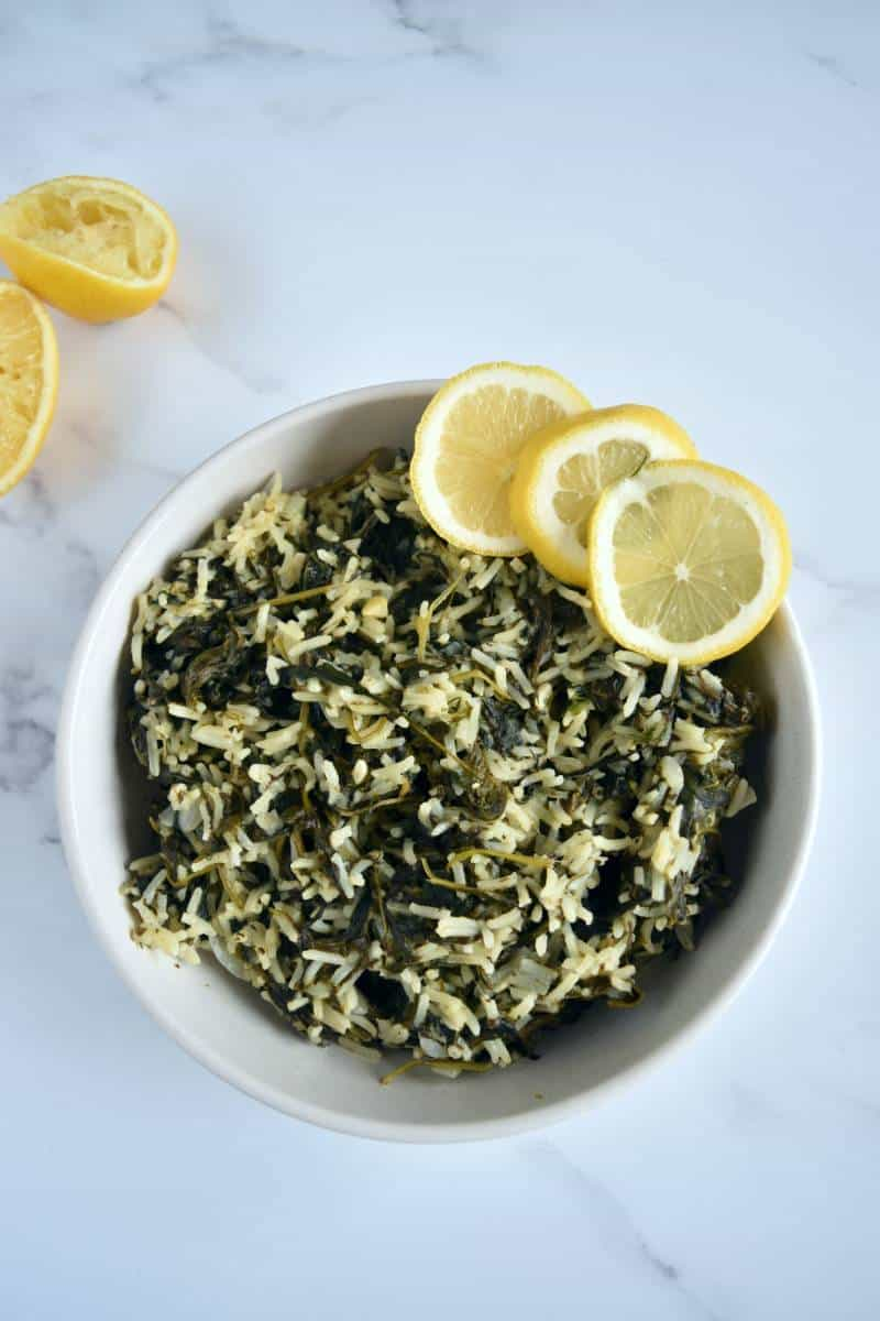 Greek spinach rice.