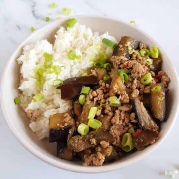 Ground pork and eggplant skillet meal.