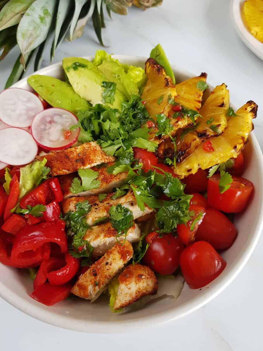 Hawaii chicken salad with cilantro dressing.
