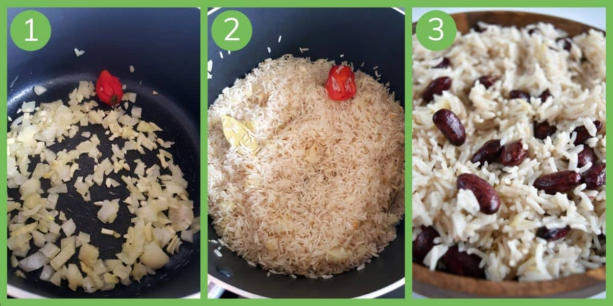 How to make red beans and coconut rice.
