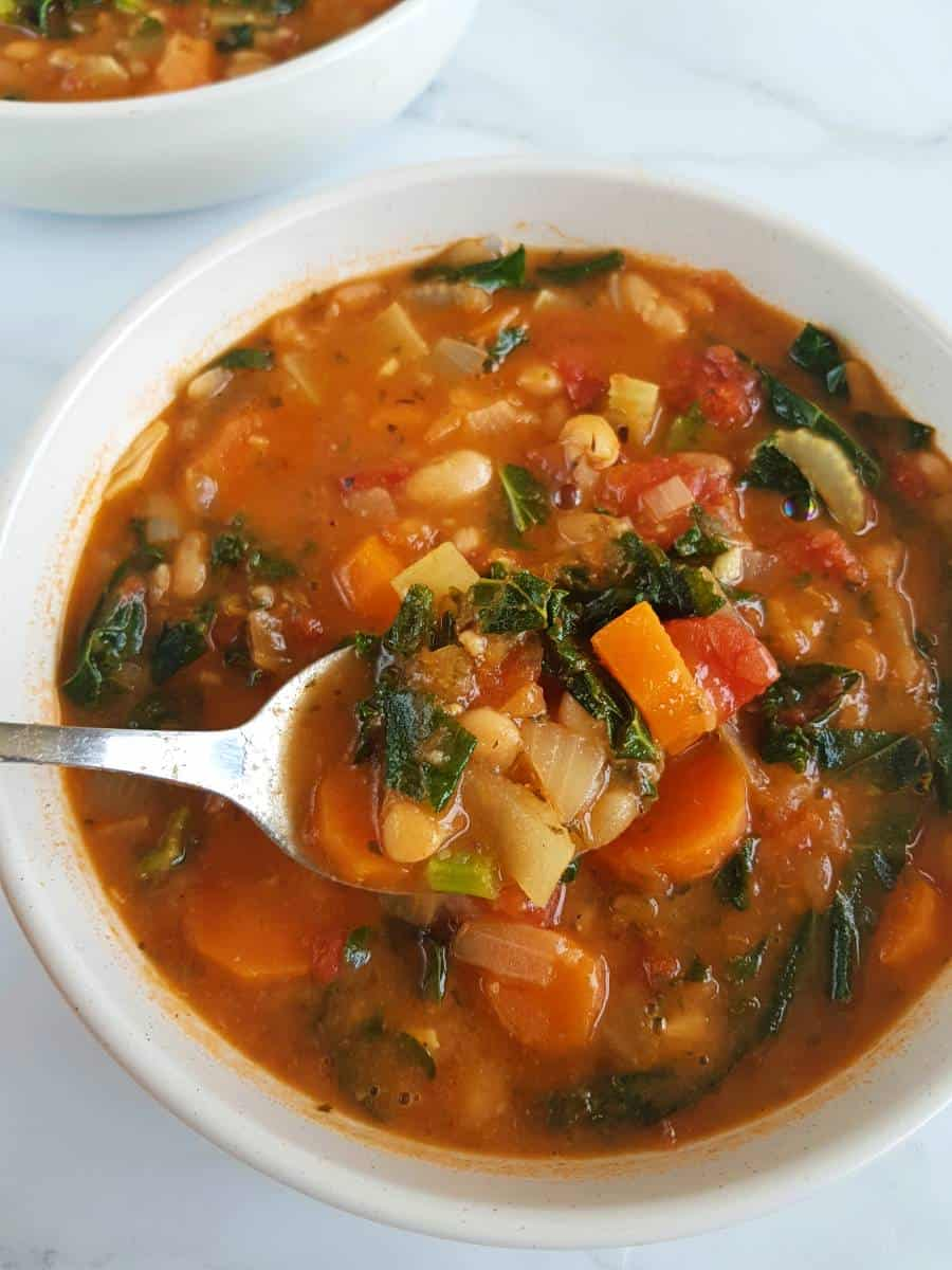 Italian soup with kale and beans.