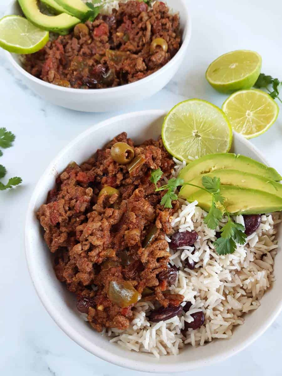 Picadillo and rice with beans.