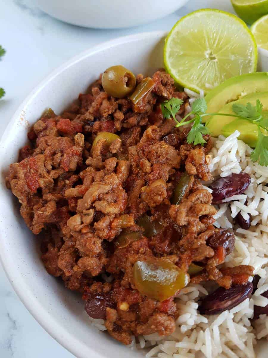 Picadillo with lime and rice.