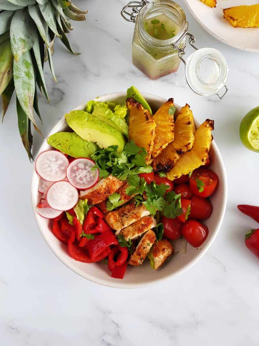 Pineapple chicken salad with cilantro.