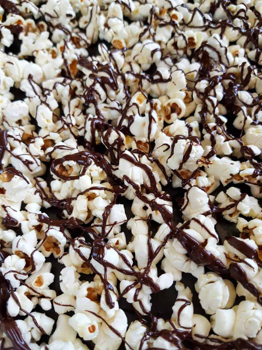 Popcorn with chocolate drizzle.