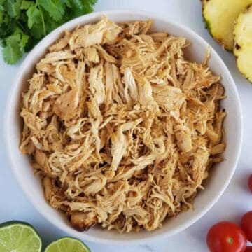 Shredded slow cooker Cajun chicken.