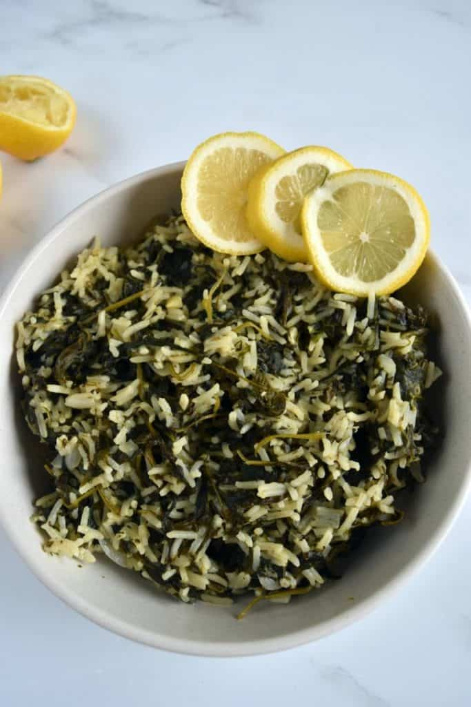 Spanakorizo Greek rice with spinach.