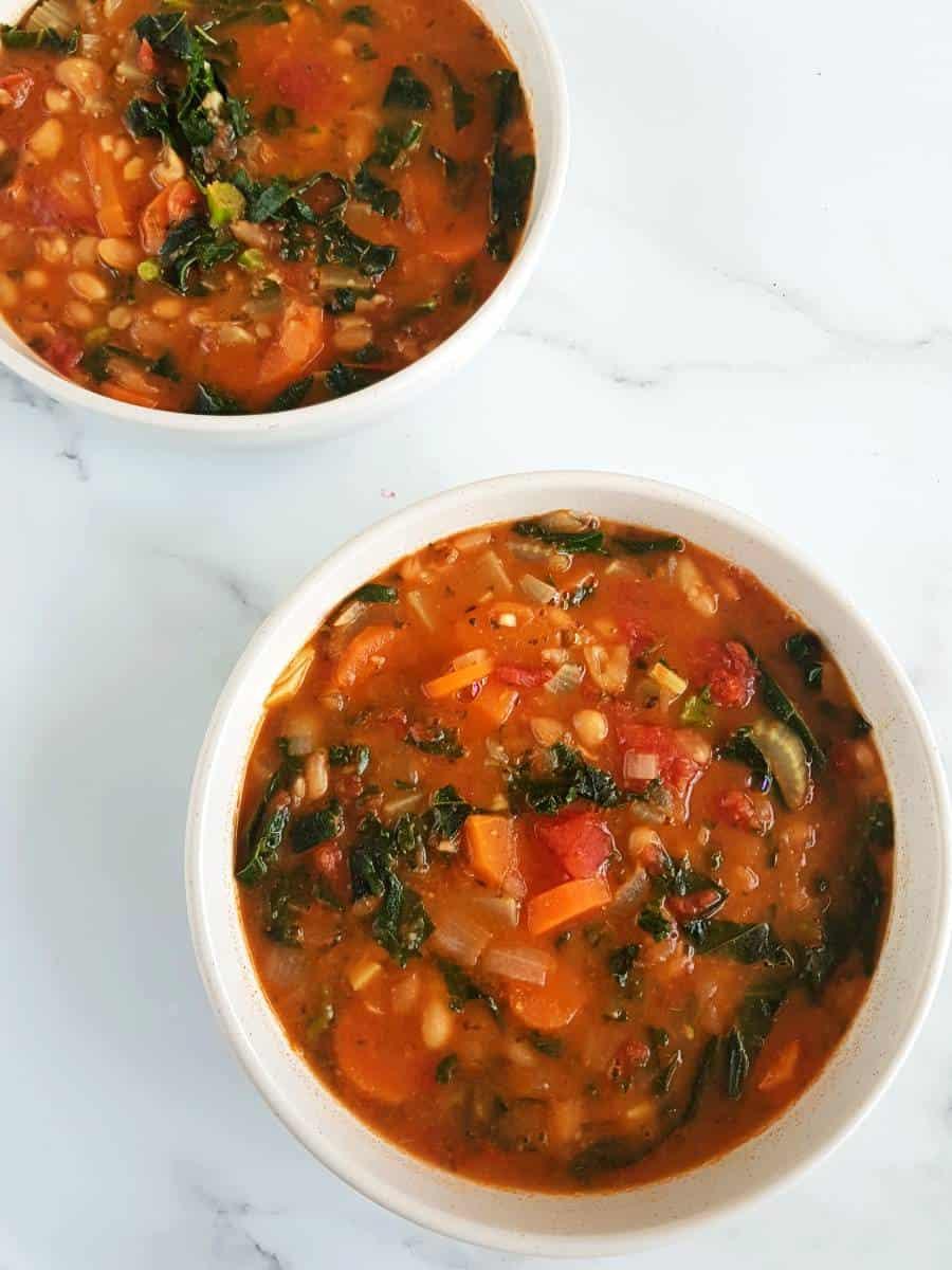 Tomato bean soup with kale.