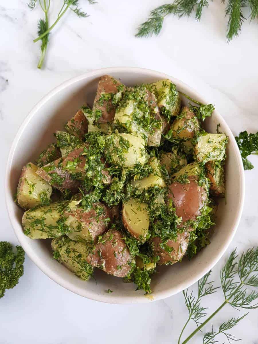 Vegan French potato salad.