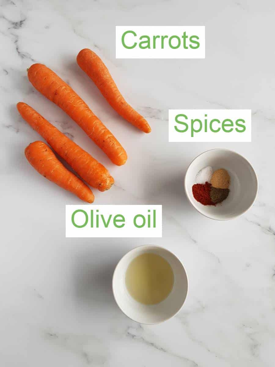 Air fryer carrot ingredients.