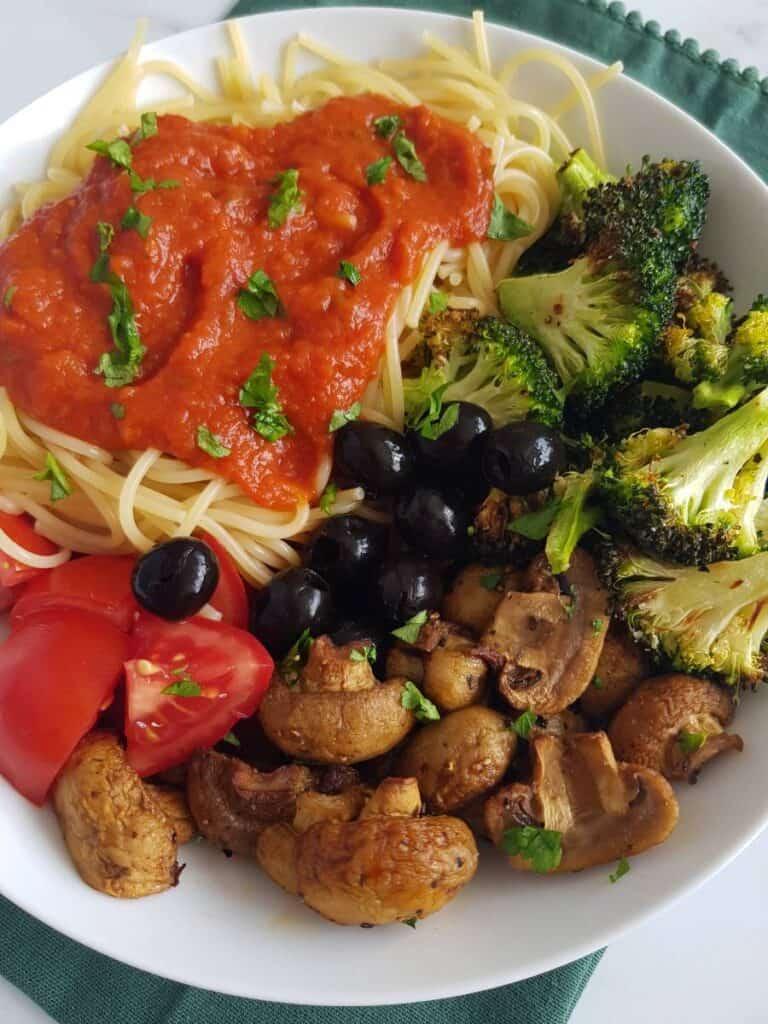 Air fryer mushrooms with pasta.