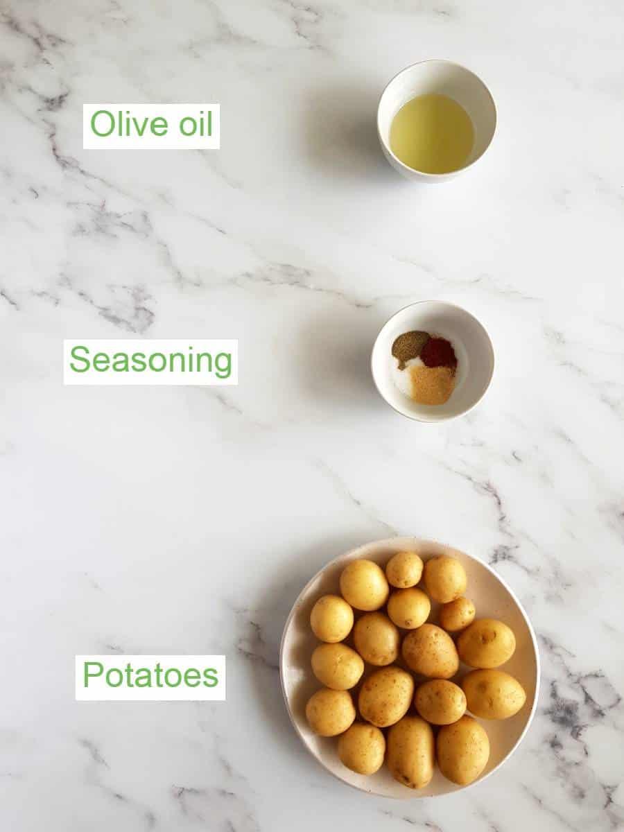 Air fryer potatoes ingredients.