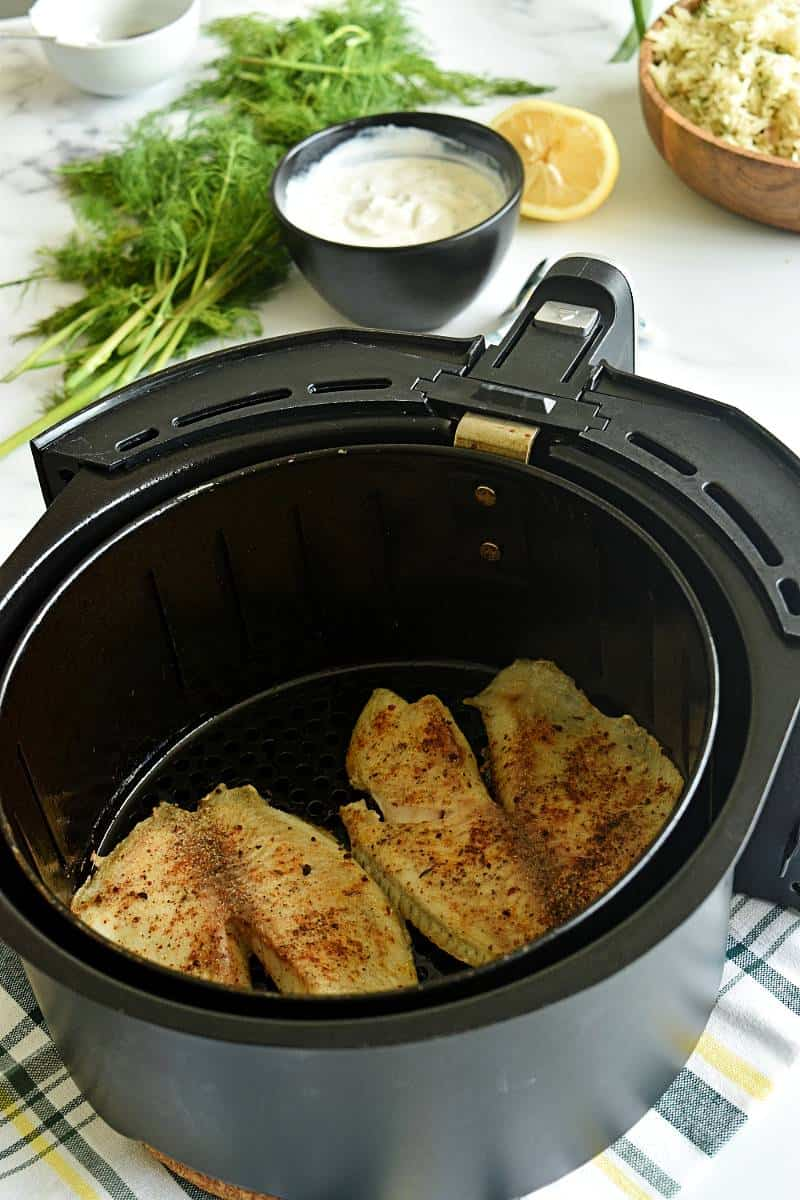 Tilapia in an air fryer.