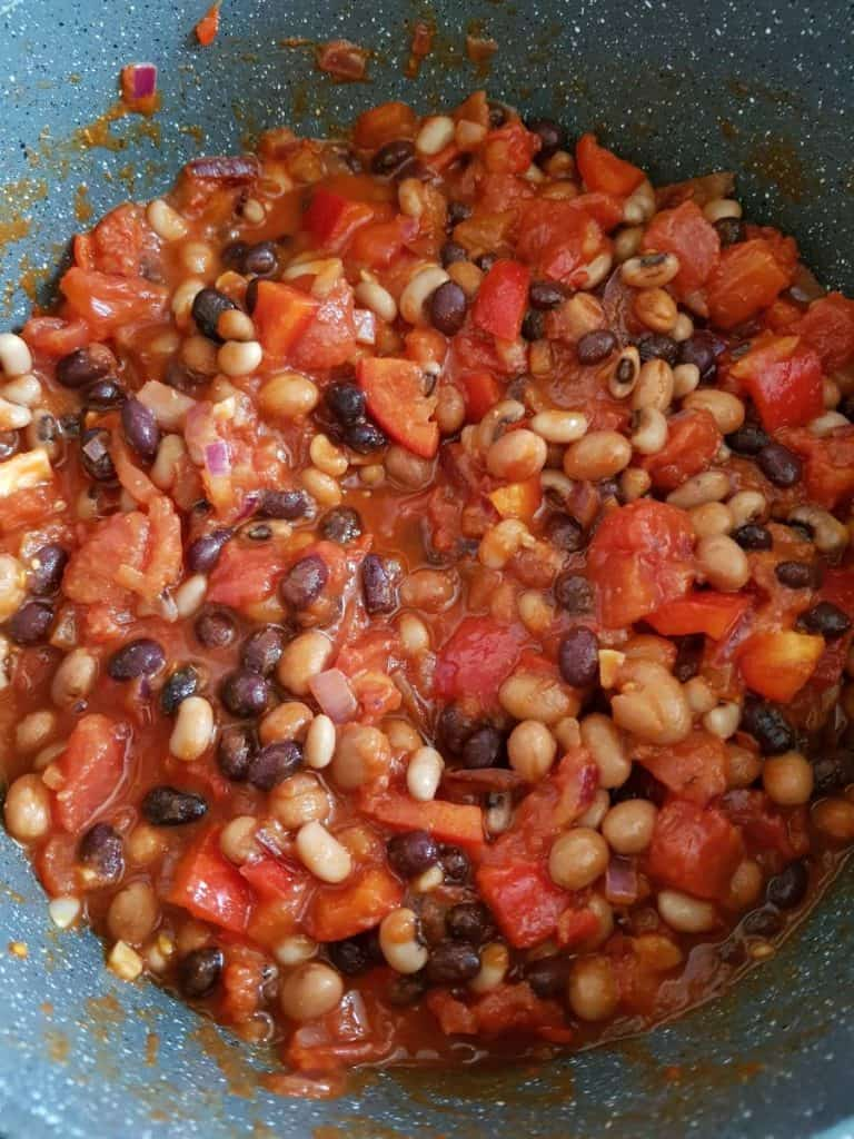 Bean chilli cooking.