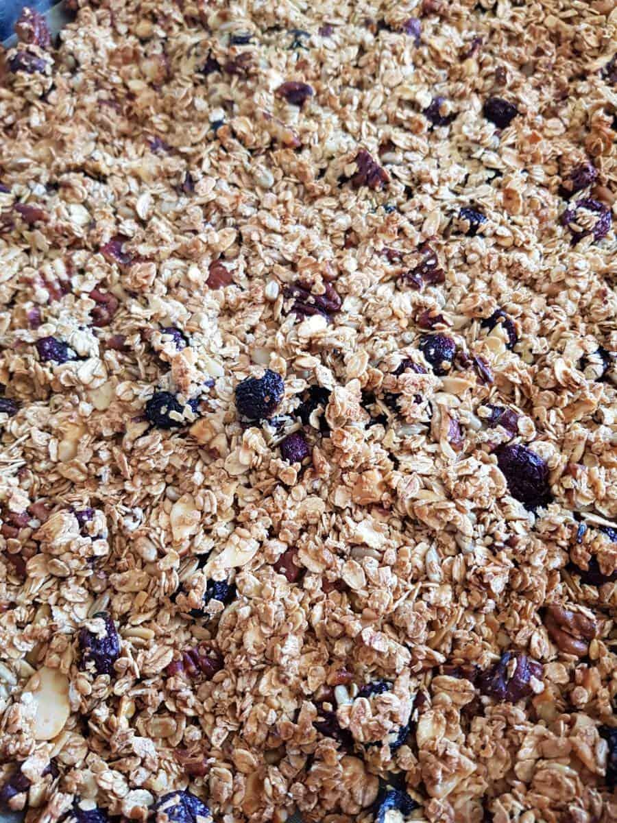 Blueberry granola in baking tray.