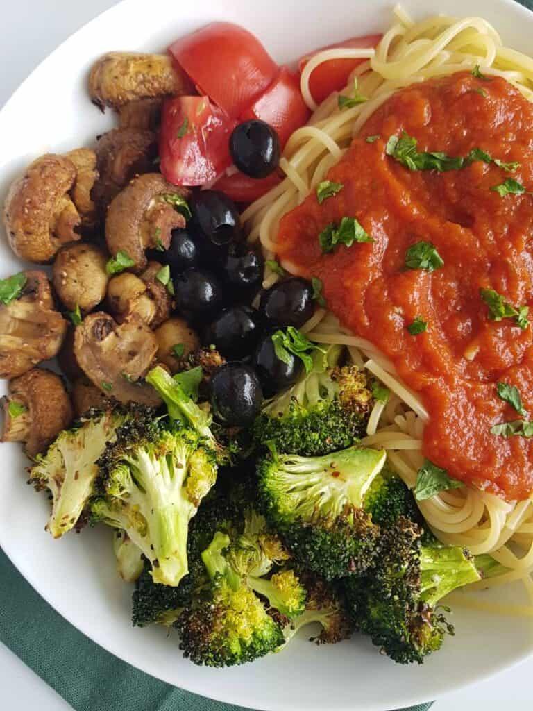 Broccoli, mushroom, vegetables and pasta.