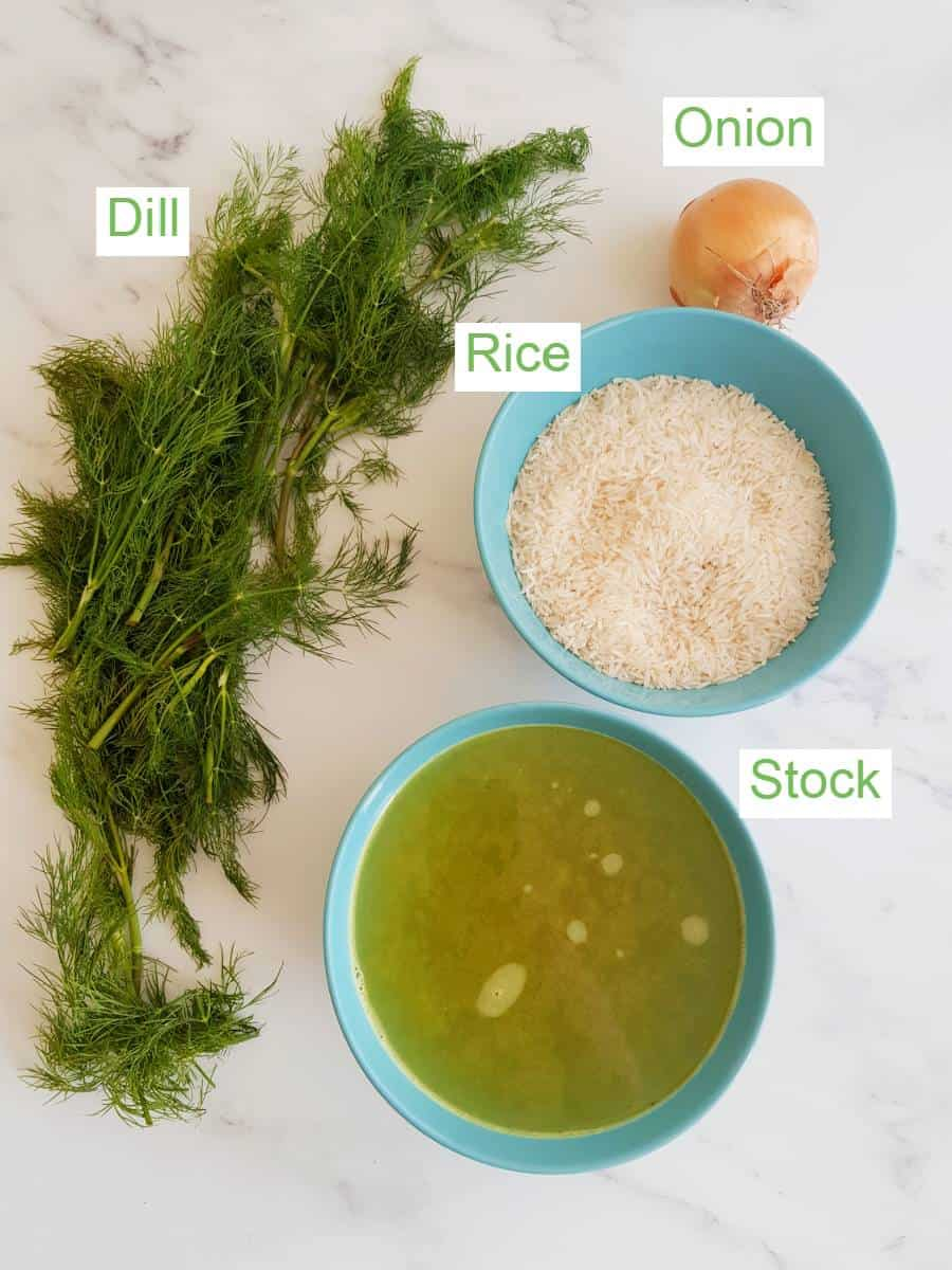 Dill rice ingredients on a table.