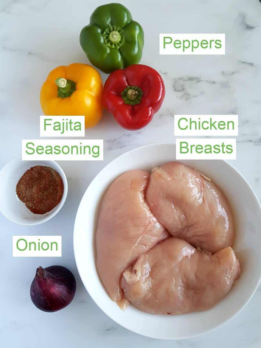 Fajita stuffed chicken ingredients on a table.