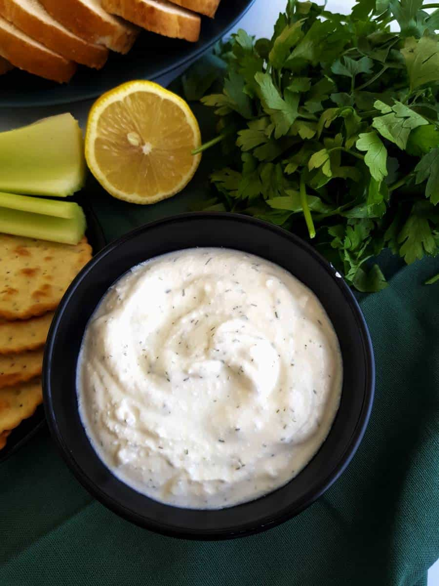 Healthy cottage cheese dip in a bowl.