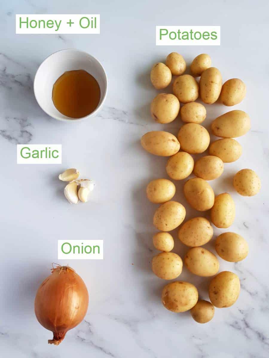 Honey roast potato ingredients.