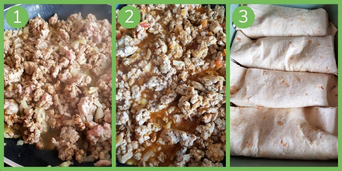 How to make ground turkey enchiladas.