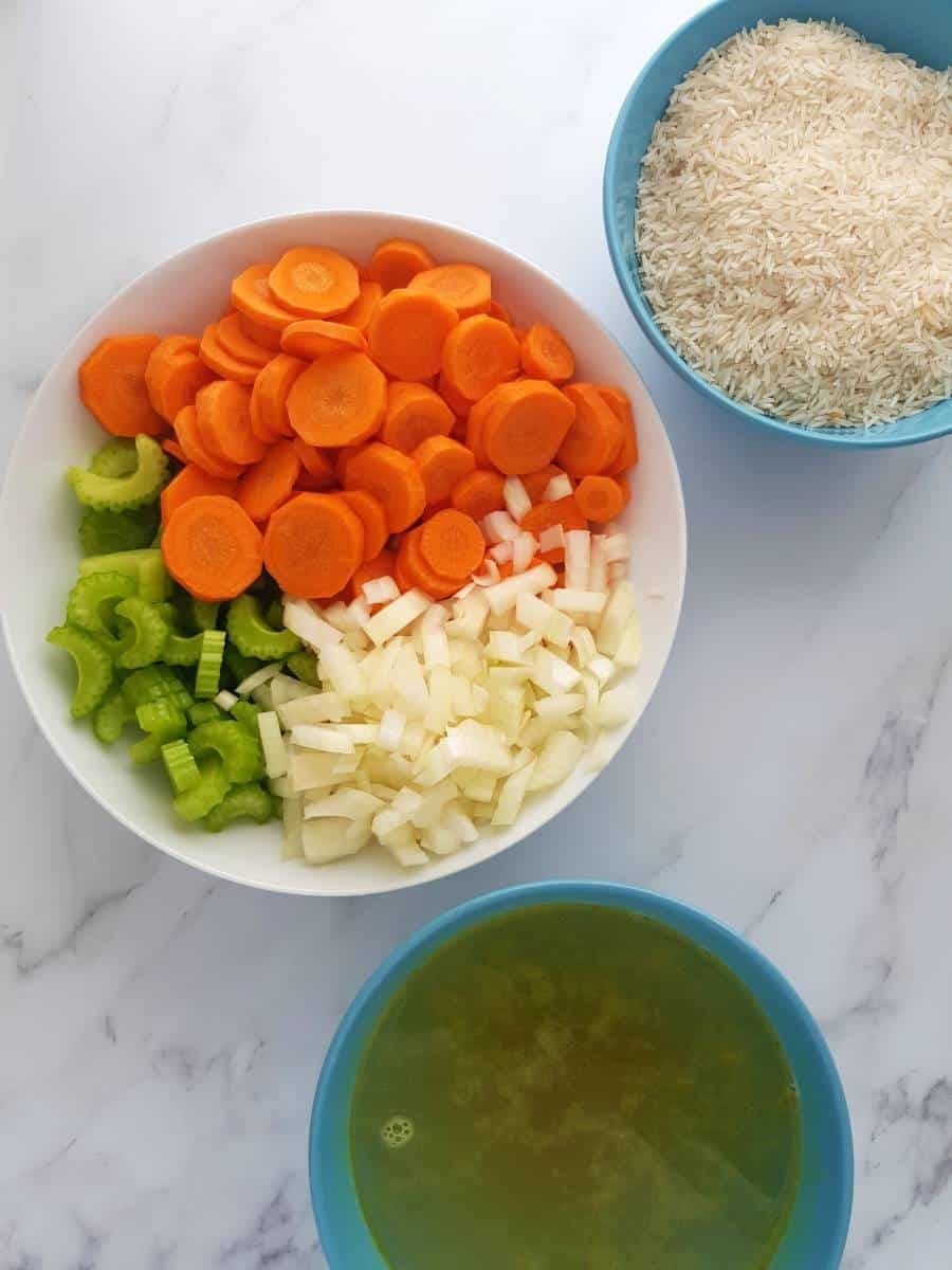 Ingredients for vegetable rice soup.