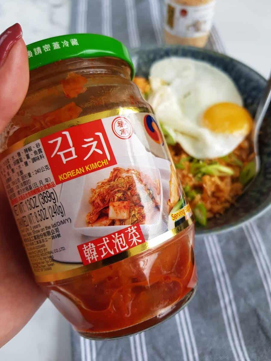 Kimchi in jar.