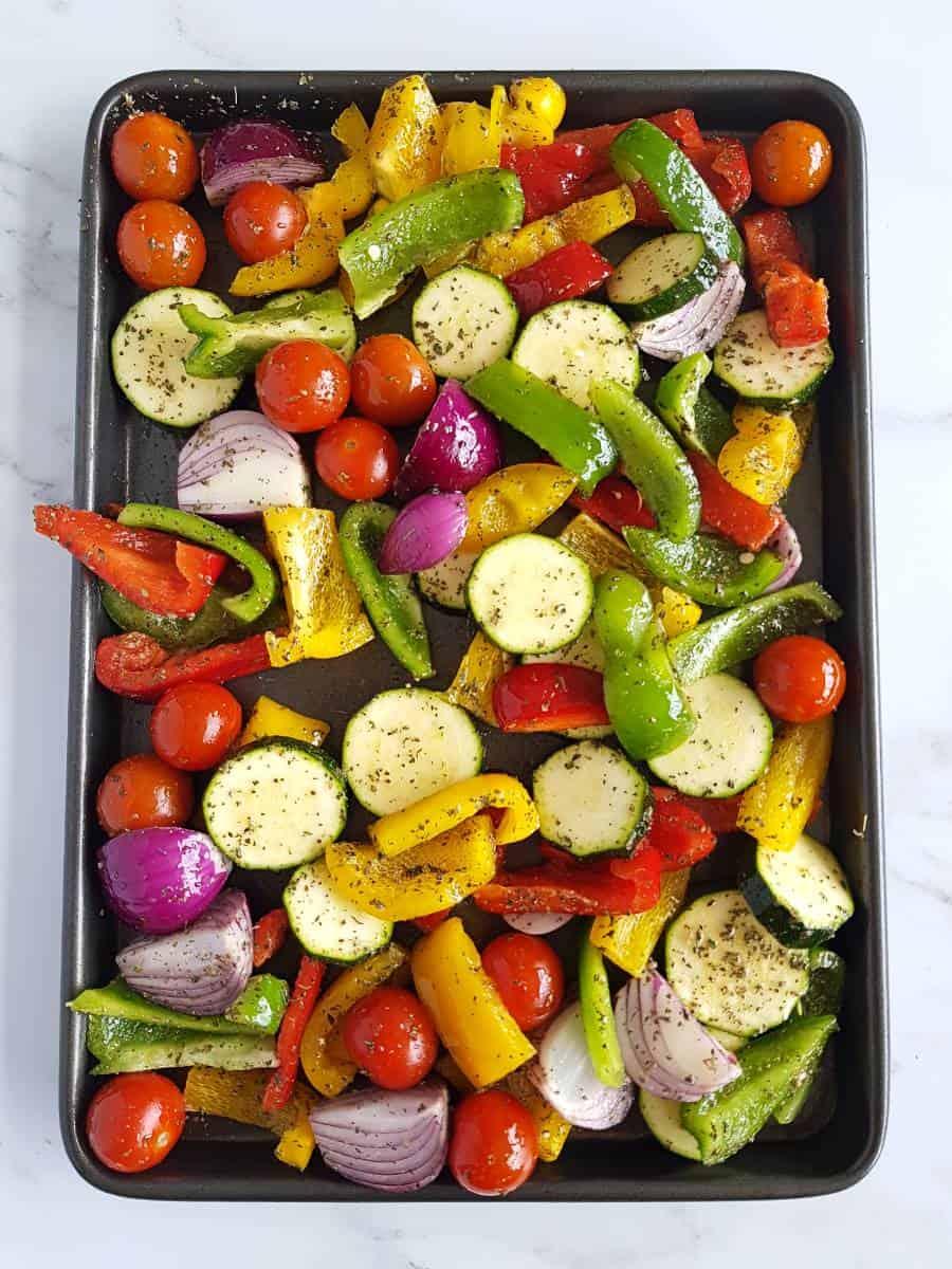 Mediterranean vegetables on a tray.