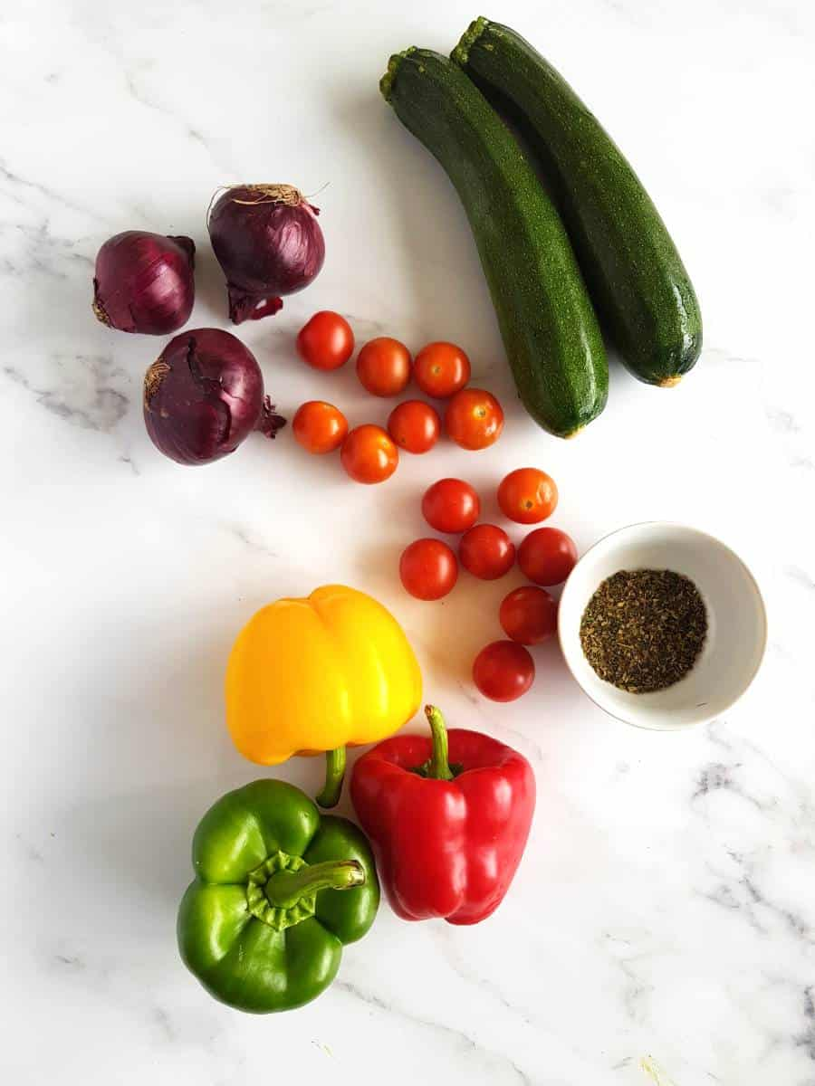 Mediterranean vegetables on a table.