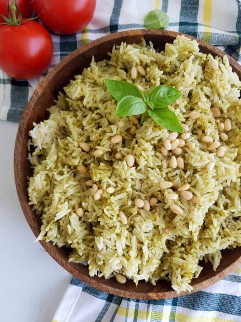 Pesto and rice.