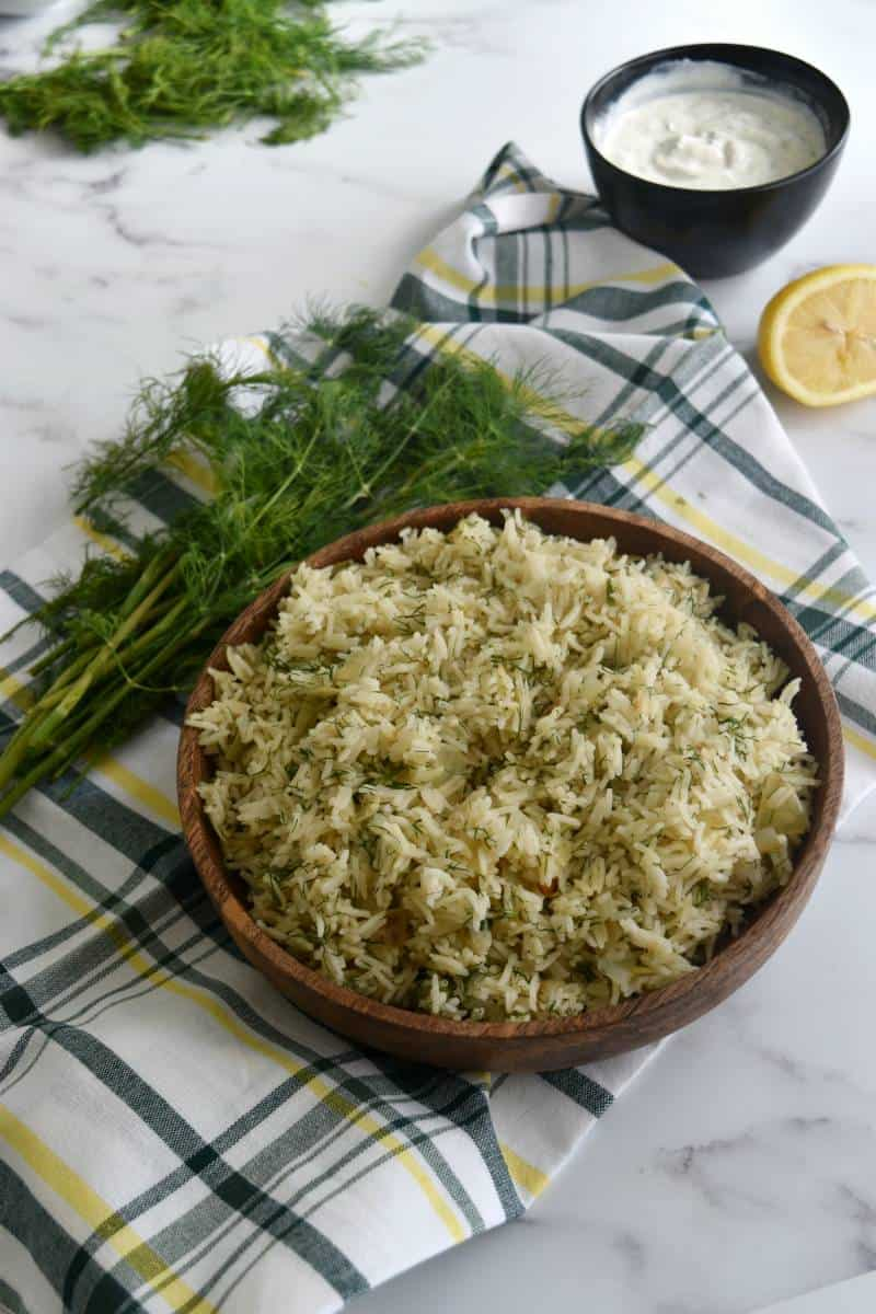 Rice with dill in a bowl.
