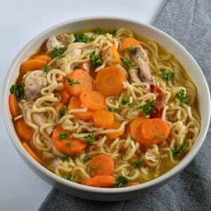 Spicy chicken noodle soup.