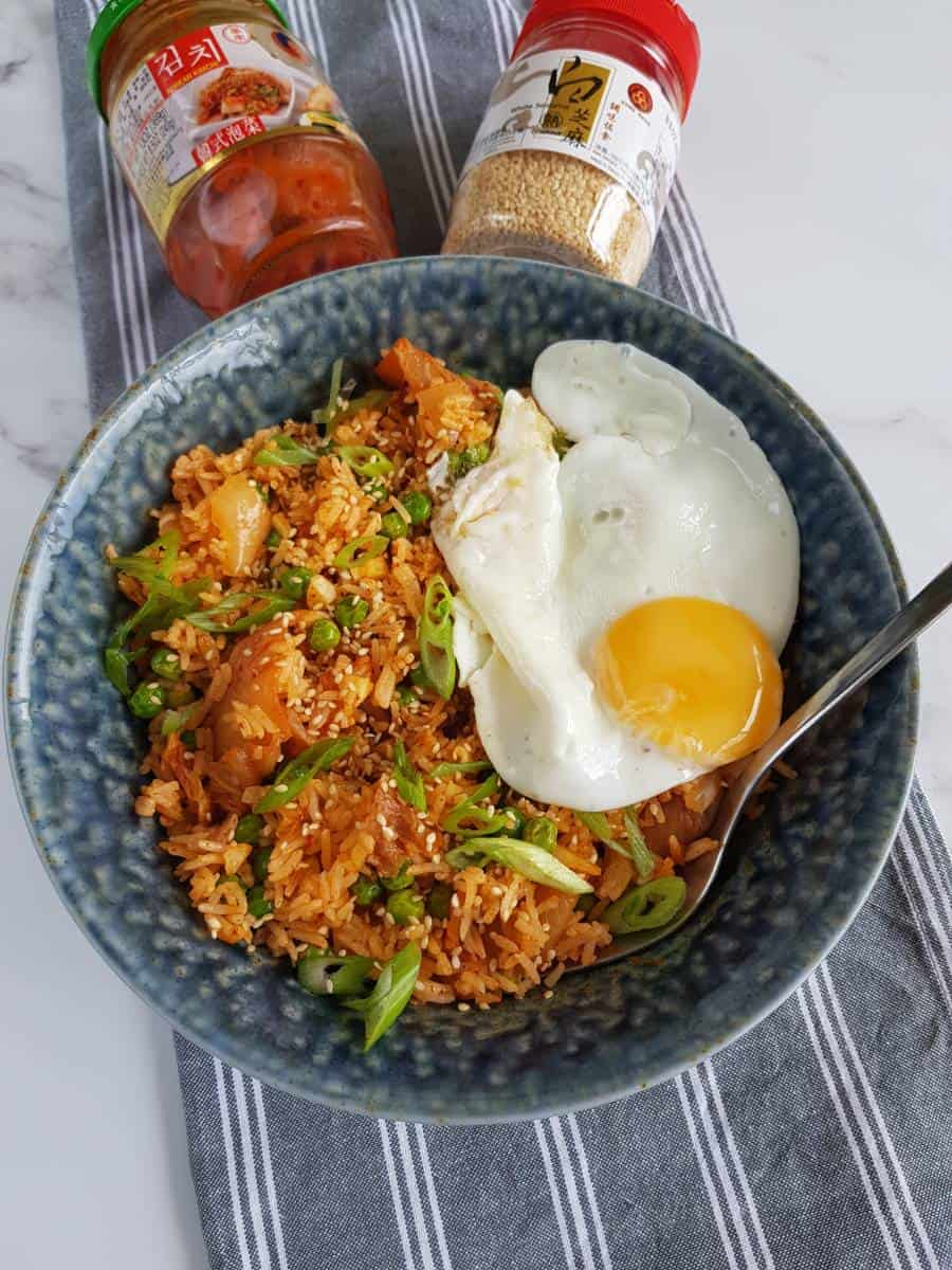 vegetarian fried rice with kimchi.