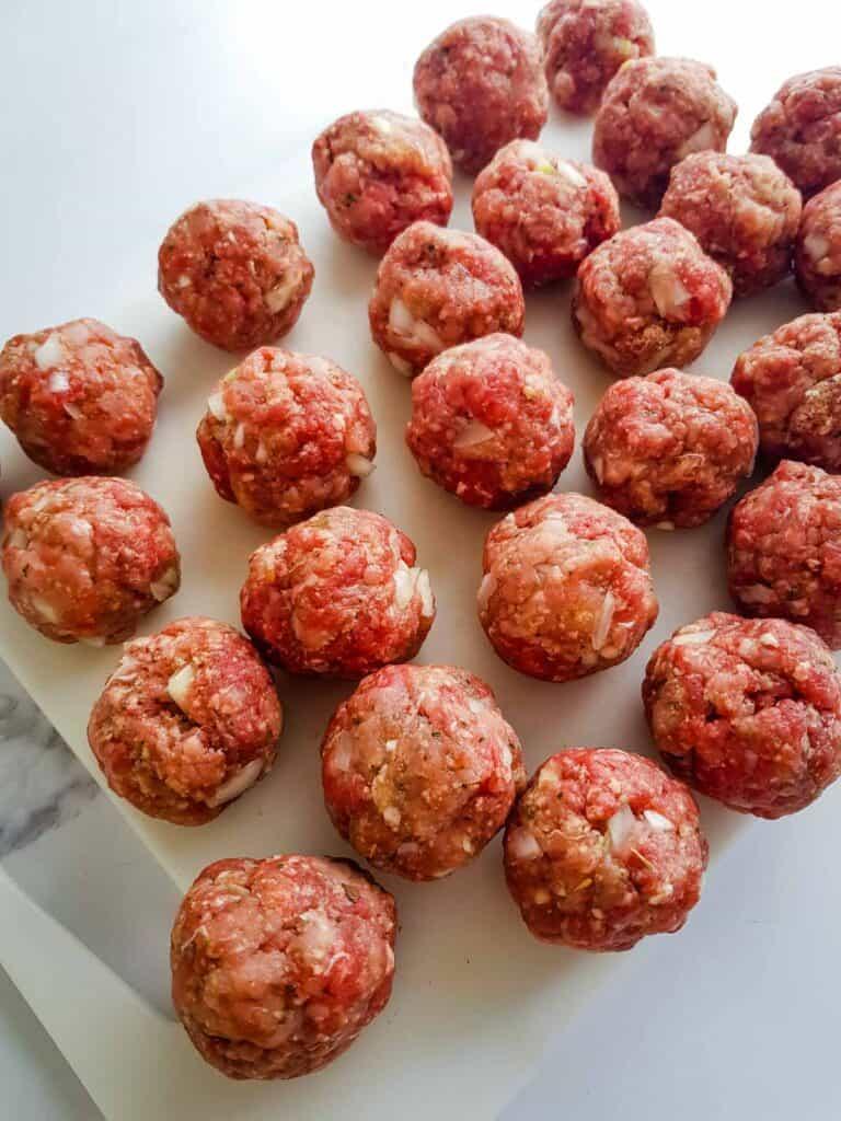 Raw meatballs.
