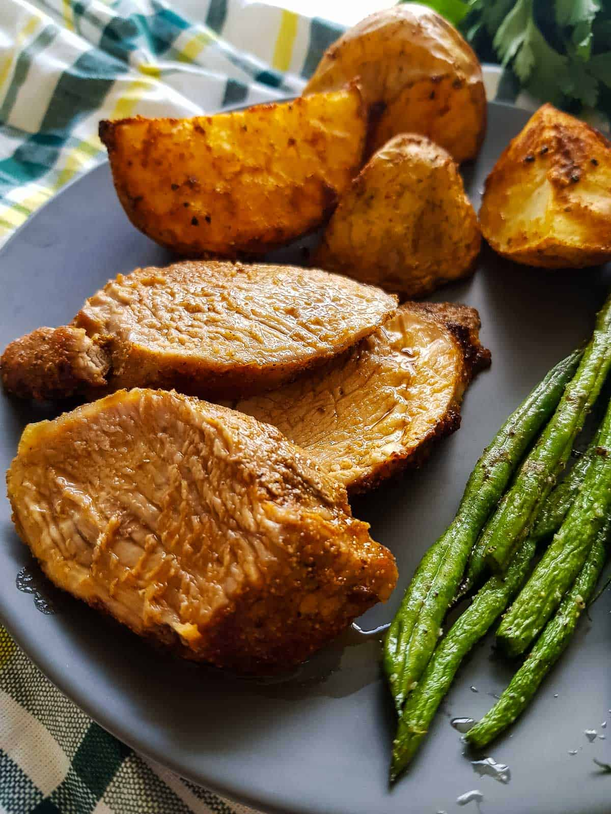 Juicy air fryer pork tenderloin.