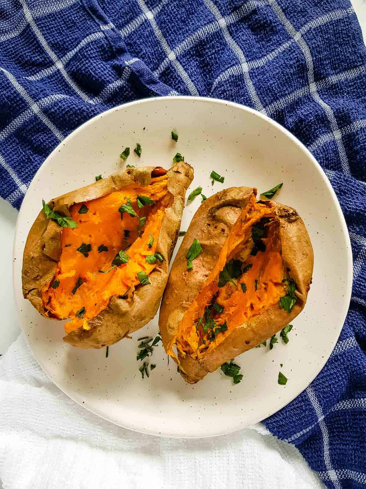 Air fryer sweet potatoes with parsley.