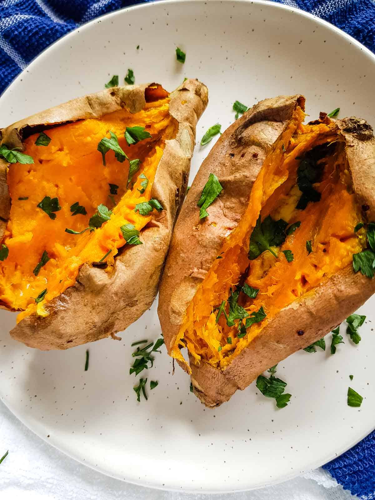 Air fryer baked sweet potatoes.
