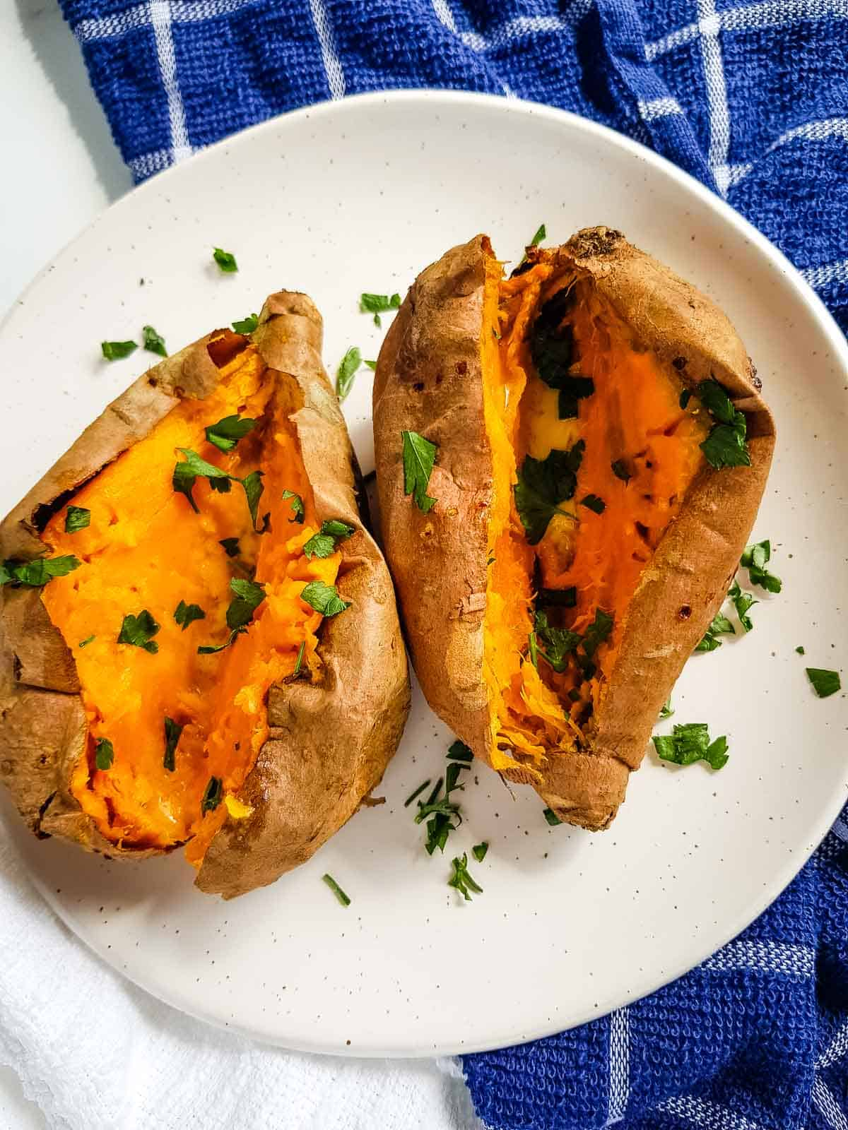 Air fried sweet potatoes on a plate.