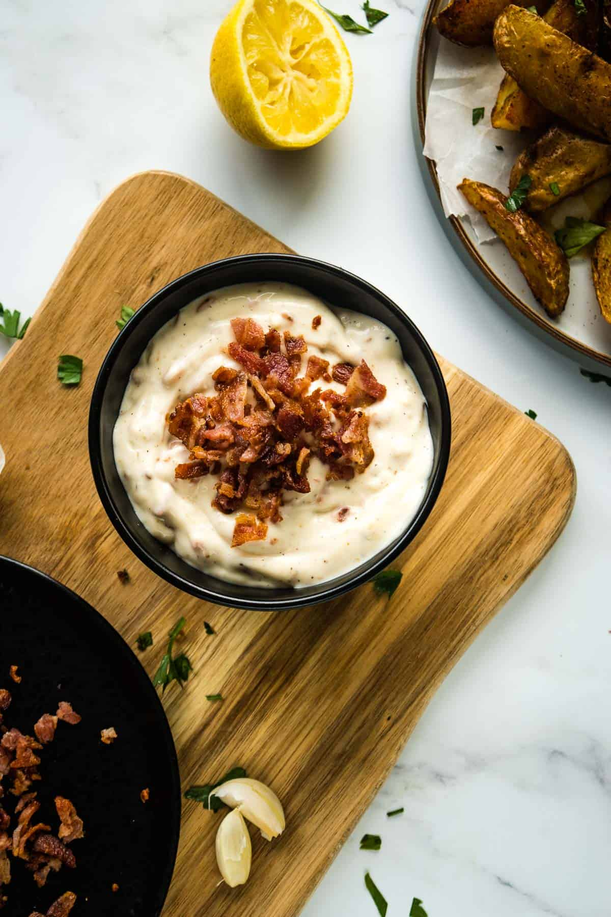 Aioli with bacon in a bowl.