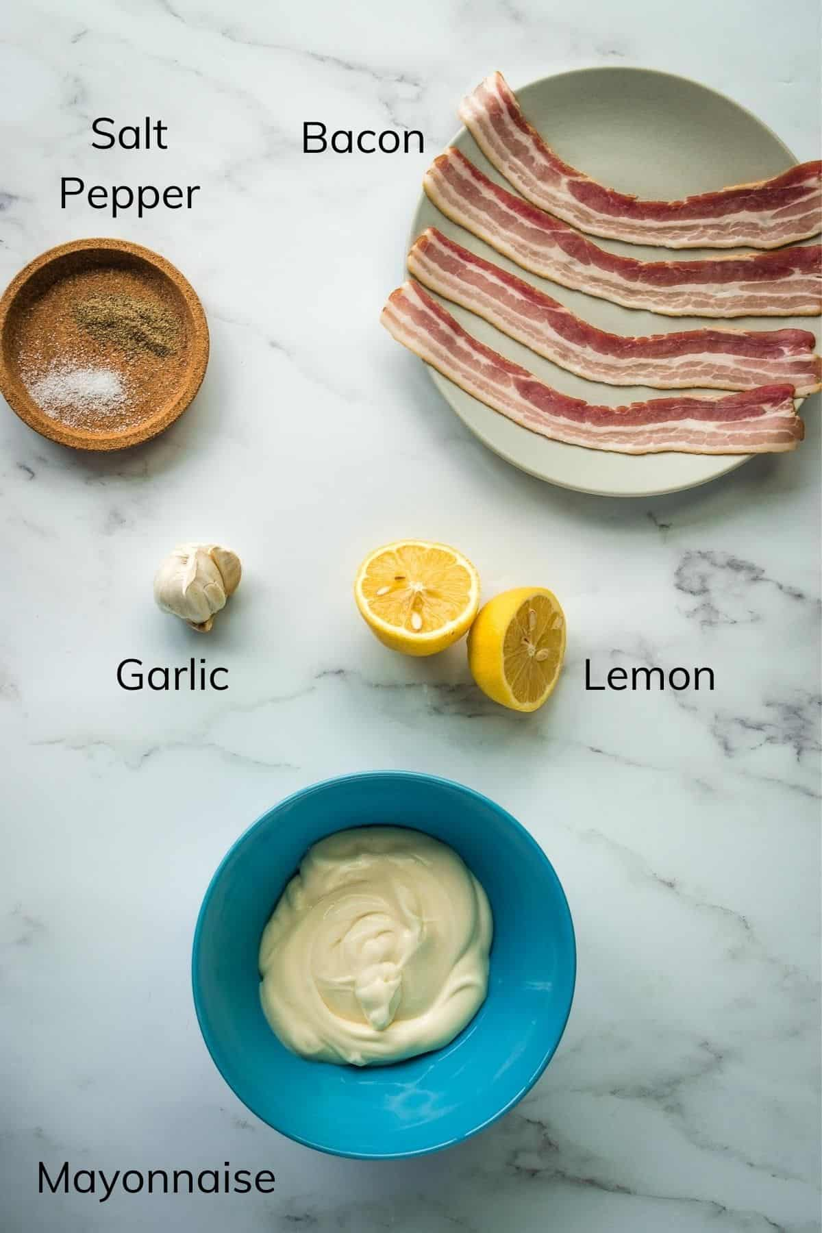 Bacon Aioli Ingredients.