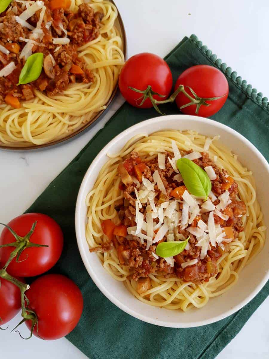 Bolognese with carrots and mushroom.